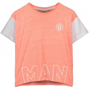 Manchester United Box Fit T-Shirt - Peach - Girls