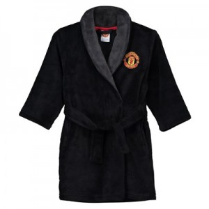 Manchester United Tie Waist Dressing Gown - Black - Boys