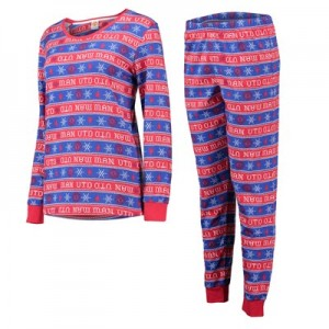 Manchester United Christmas All Over Print Pyjamas - Red/Blue - Womens