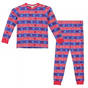 Manchester United Christmas All Over Print Pyjamas - Red/Blue - Kids