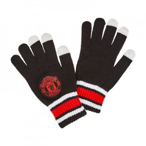 Manchester United Touch Screen Crest Gloves - Black - Mens