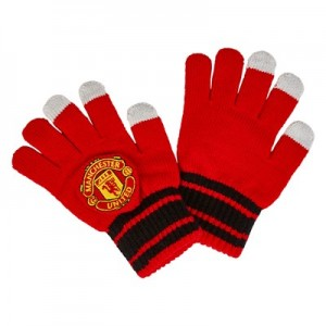Manchester United Touch Screen Crest Gloves - Red - Boys