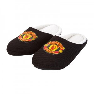 Manchester United Fur Lined Crest Slippers - Black - Mens