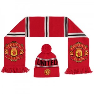 Manchester United Crest Hat And Scarf Set - Red - Childs