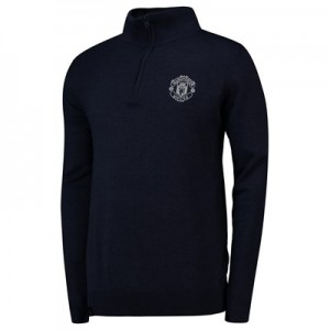 Manchester United 1/4 Zip Funnel Neck Knitted Jumper - Navy - Mens