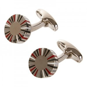 Manchester United x Paul Smith - Men's Red And Grey Striped Edge Circular Cufflinks