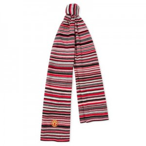 Manchester United x Paul Smith - Red Striped Wool Scarf