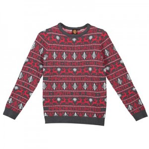 Manchester United Fairisle Christmas Jumper - Red - Junior