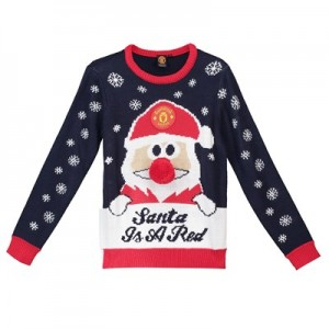 Manchester United Santa Christmas Jumper - Navy - Junior