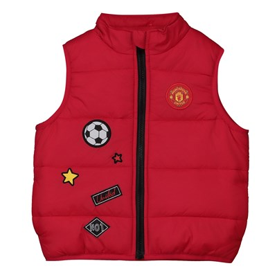 Manchester United Zip Through Gilet With Patches - Red - Baby