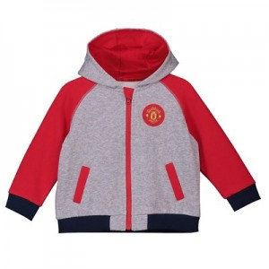 Manchester United Zip Through Contrast Sleeve Hoodie - Grey/Red - Baby