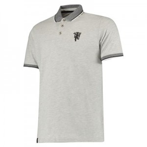 Manchester United Tipped Tonal Devil Polo Shirt - Light Grey - Mens