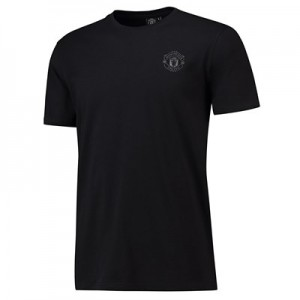 Manchester United Rubberised Tonal Crest T-Shirt - Black - Mens