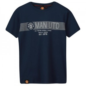 Manchester United Core Raised Rubber Print T-Shirt - Navy - Boys