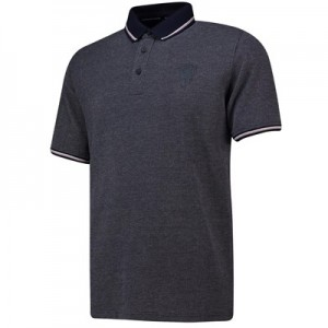 Manchester United Jacquard Polo Shirt - Navy/Pink - Mens