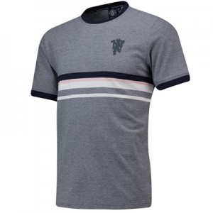 Manchester United Contrast Stripe T-Shirt - Grey - Mens