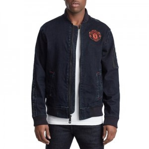 Manchester United True Religion Zip Denim Bomber - Indigo - Mens