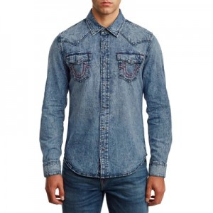 Manchester United True Religion Denim Shirt - Western Indigo - Mens