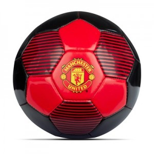 Manchester United Crest PVC Football - Black-Red - Size 1