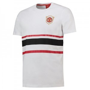 Manchester United T-Shirt with Stripe Print - White Marl - Mens
