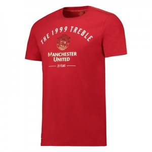 Manchester United T-Shirt with Gold and White Print - Red - Mens