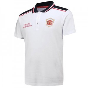 Manchester United Polo Shirt with Contrast Collar - White-Mens