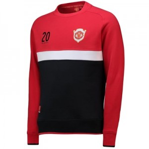 Manchester United Crew Sweatshirt with Contrast Panels - Red - Mens