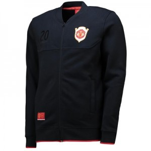 Manchester United Treble Bomber Jacket - Black-Mens