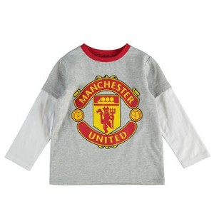 Manchester United Large Crest Long Sleeve T-Shirt - Grey/White - Baby