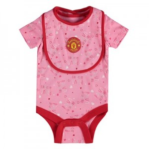Manchester United Bodysuit & Bib Set - Pink/Red - Baby