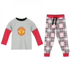 Manchester United LS Crest Pyjamas - Grey - Boys