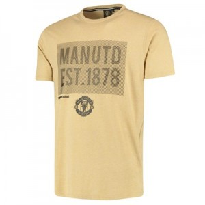 Manchester United Printed T-Shirt - White/Mustard - Mens