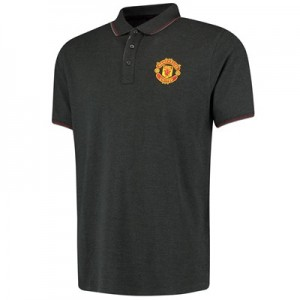 Manchester United Core Crest Polo Shirt - Charcoal - Mens