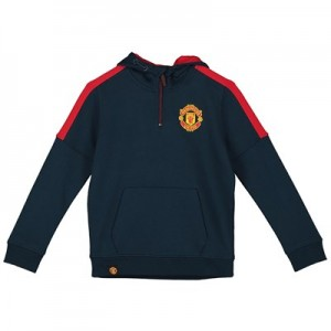 Manchester United Core Quarter Zip Hoodie - Navy/Red - Boys