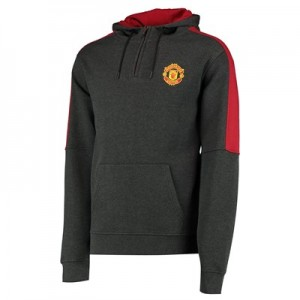 Manchester United Core Quarter Zip Hoodie - Charcoal/Red - Mens