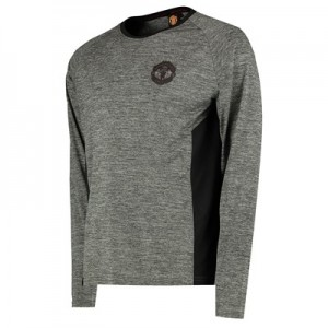 Manchester United Core Long Sleeve Poly T-Shirt - Grey/Black - Mens