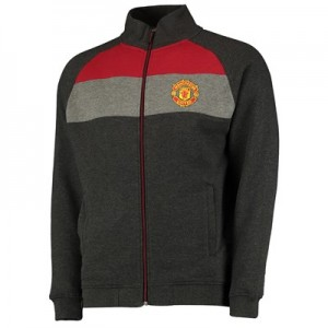 Manchester United Core Stripe Track Jacket - Charcoal/Red/Grey - Mens