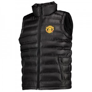 Manchester United UEFA Champions League Embroidered Gilet - Black - Mens