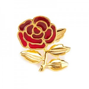 England Handmade Gold Plated Rose Pin - Limited Edition