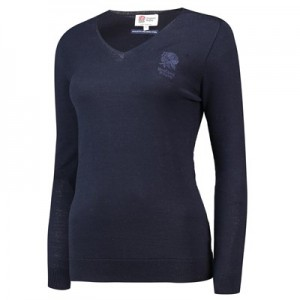 England Extra-Fine Merino Wool V-Neck Jumper - Navy - Womens
