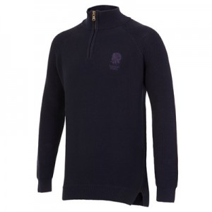 England Cotton Heavyweight Quarter Zip Jumper - Navy
