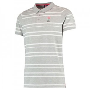 England Classic Tonal Striped Pique Polo - Grey Marl - Mens