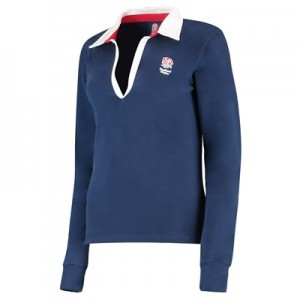 England Classic V Neck Long Sleeve Rugby Shirt - Navy - Womens