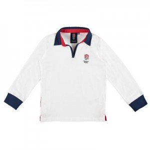 England Classic V Neck Rugby Shirt - White - Girls