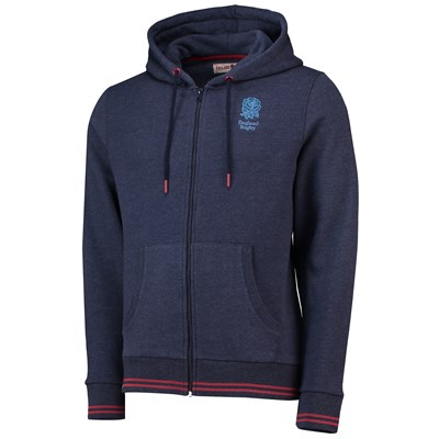England Clubhouse Zip Through Hoodie - Navy - Mens