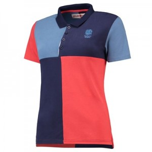 England Clubhouse Harlequin Polo - Navy/Sky/Red - Womens