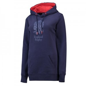 England Clubhouse Longline Hoodie - Navy Marl - Womens
