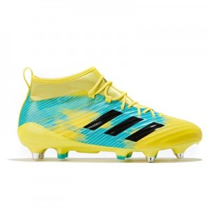 adidas Predator Flare - Soft Ground Rugby Boot - Yellow/Black/Aqua
