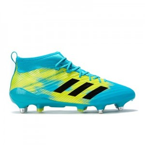 adidas Predator Flare - Soft Ground Rugby Boot - Aqua/Black/Yellow