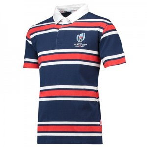 Rugby World Cup 2019 Striped Rugby Shirt Short Sleeved - Red/White/Navy - Mens